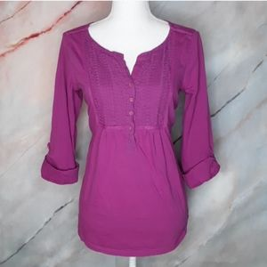 CHARTER CLUB Purple 3/4 Sleeve Blouse